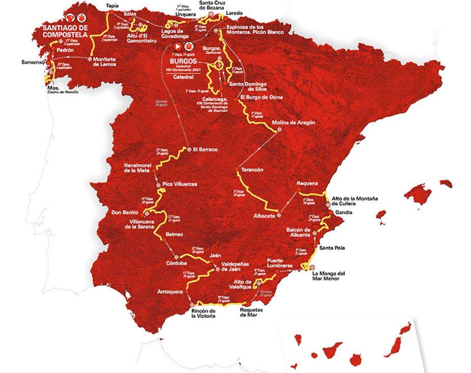Mapa de la Vuelta a España 2021